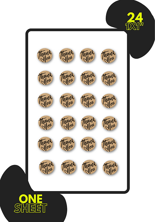 "1X1"" Circle Kraft Sticker Sheet"