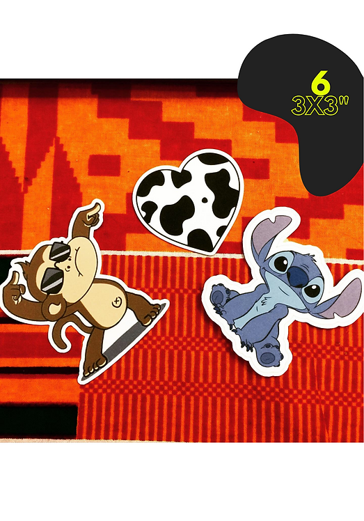 """6 Individual 3x3"""" Stickers"""