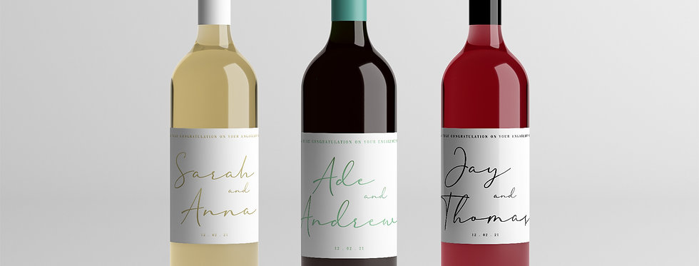 Personalised engagement wine label