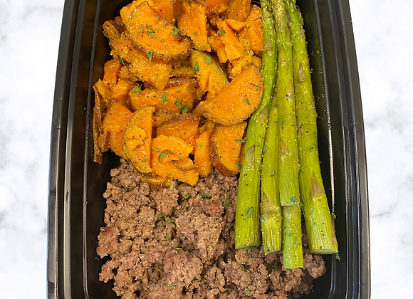 Ground Beef  Sweet Potato  Asparagus