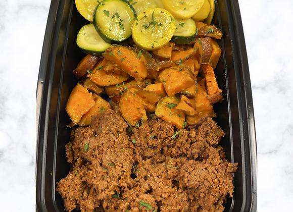 Vegan Beef Sweet Potato Zucchini