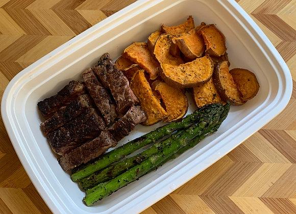 Steak Tips  Sweet Potato  Asparagus
