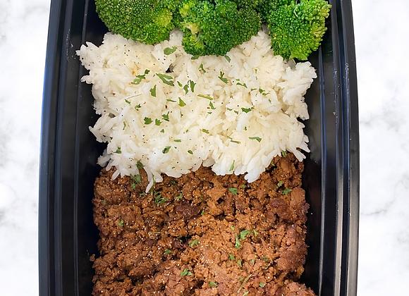 Vegan Beef Jasmine Rice Broccoli