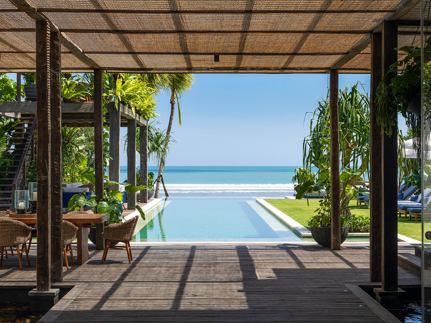 Noku Beach House - View to pool and the