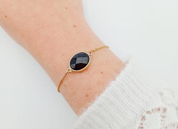 Bracelet plaqué or - Onyx
