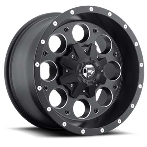 "20"" FUEL WHEELS D525 REVOLVER MATTE BLACK AND MILLED"
