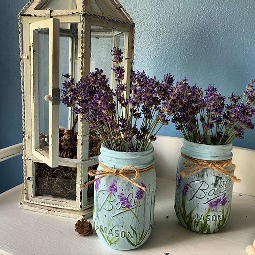 Hand-painted Lavender Jar with Lavender Bouquet
