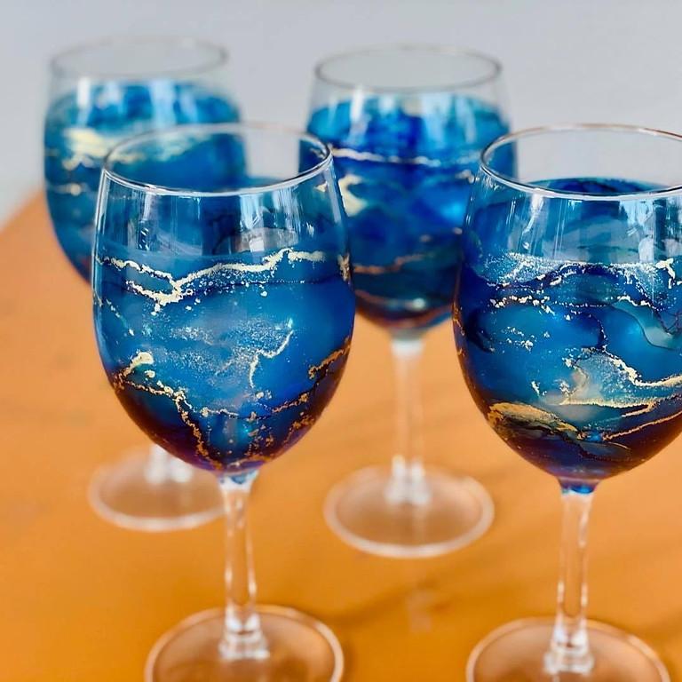 Bribie Island Coffee Club- Decorate x 4 Alcohol Ink Wine Glasses! (you choose x 3 colours)