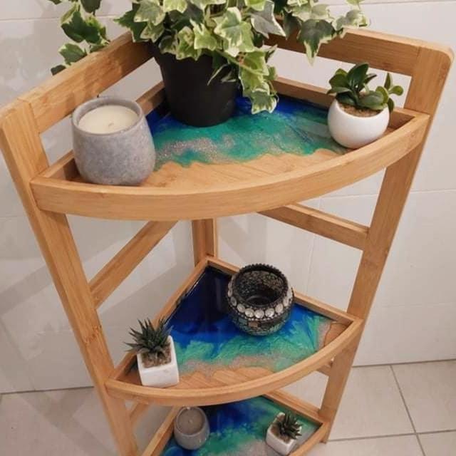 Studio-Brisbane North-Resin Master Class - x 3 Tier Resin Bamboo Corner Shelf (you choose x 3 colours!)