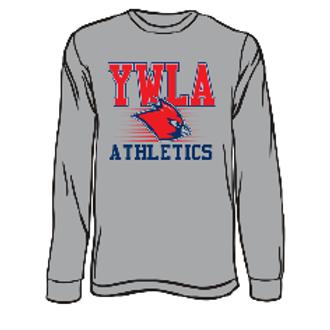 YWLA ATHLETICS GREY L/S TEE 50/50 (Youth)