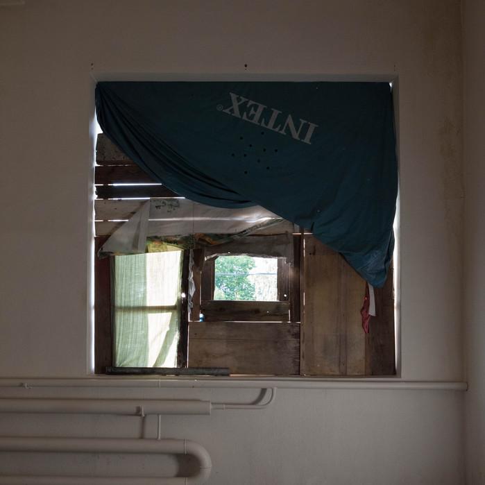 Masha Poluektova  The shelter  Found objects, old cloth. Installation. 2016