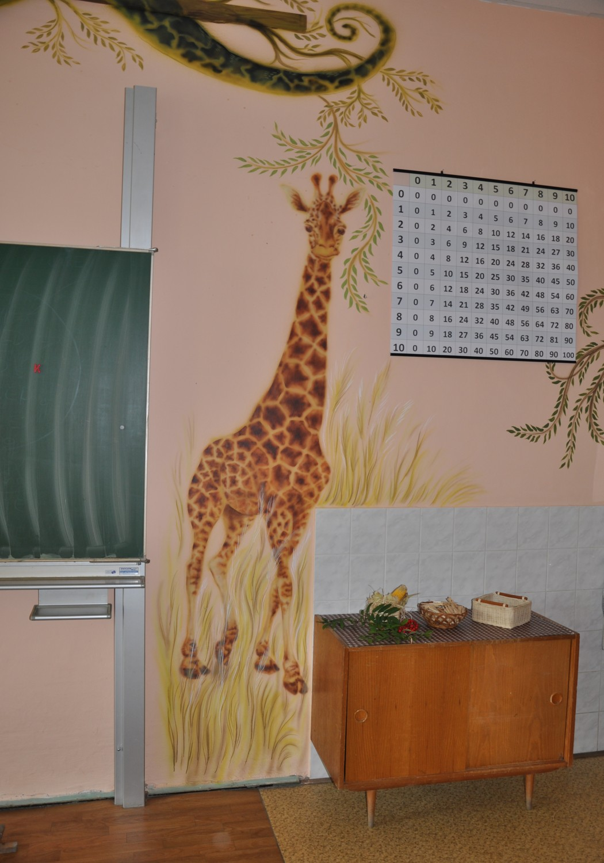 ve třídě, škola Veliš, airbrush,2014