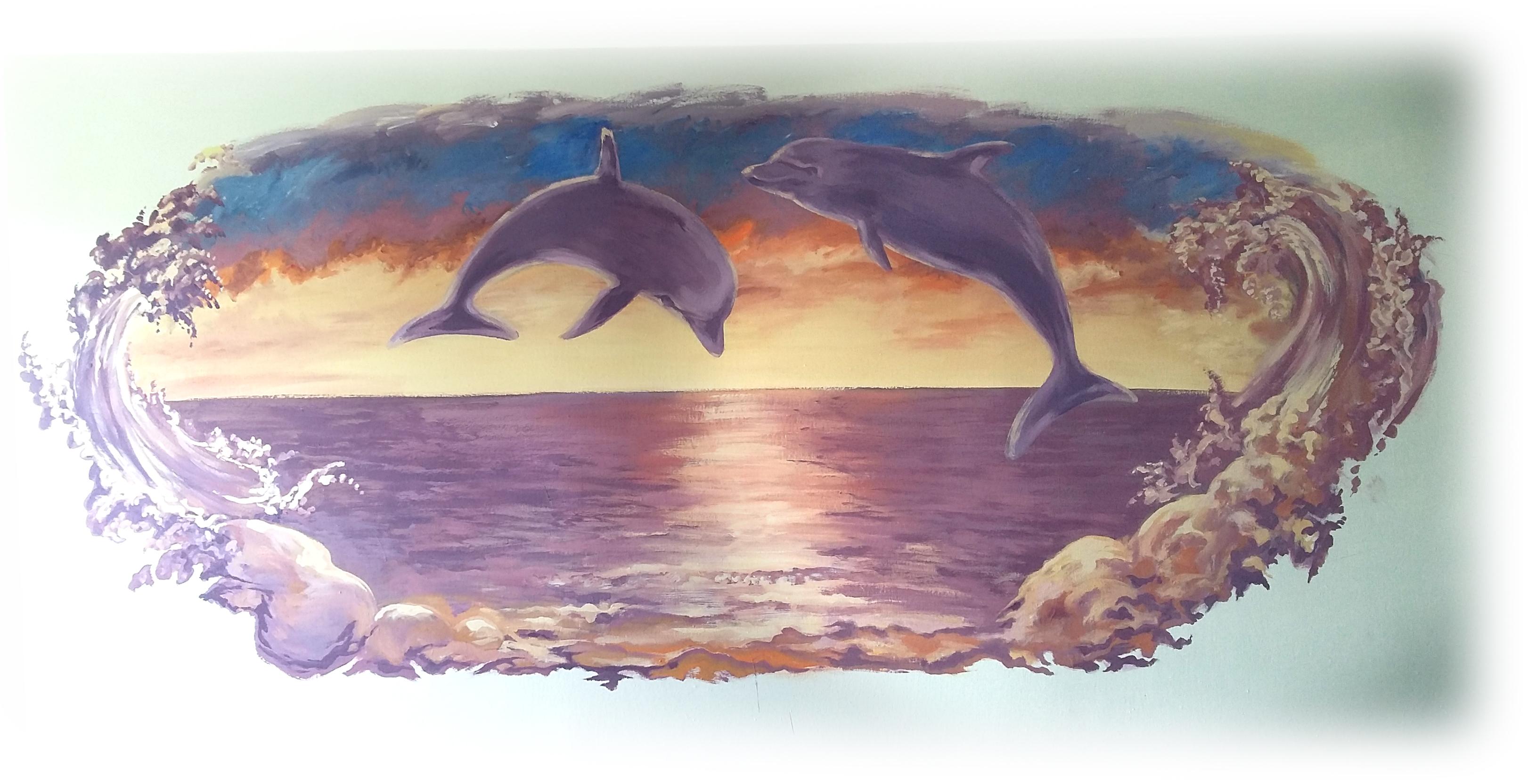 delfíni v dětském pokoji