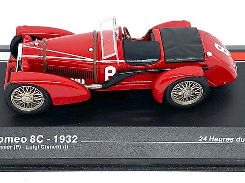 1:43 scale Altaya Alfa Romeo 8C Sports Car, R Sommer & L Chinetti Le Mans 1932