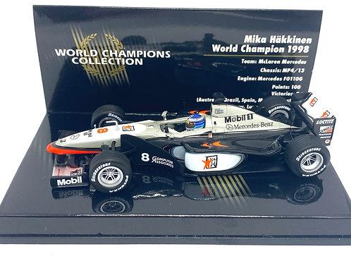 1:43 Minichamps McLaren MP4/13 F1 Car Mika Hakkinen 1998 World Champion Edition