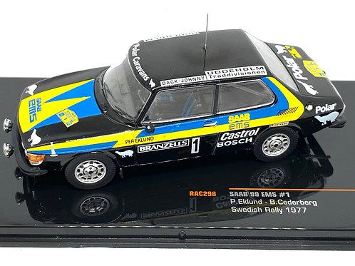 1:43 Scale IXO Models Saab 99 EMS Rally Car - P Eklund 1977 Rally Sweden Model