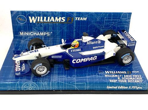 Ltd Ed 1:43 scale Minichamps Williams FW23 F1 Car - R Schumacher Keep Distance