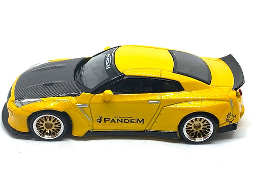 1:64 scale Mini GT TSM Model Nissan GT-R Sports Car Metallic Yellow & Carbon