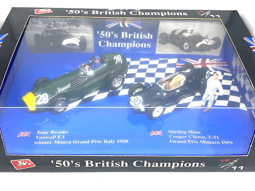 1:43 scale Brumm 50's British Champions Gift Set 2 - Stirling Moss & Tony Brooks