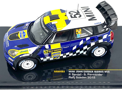 1:43 Scale IXO Mini Cooper Works Rally Car - P Sandell 2012 Rally Sweden Model