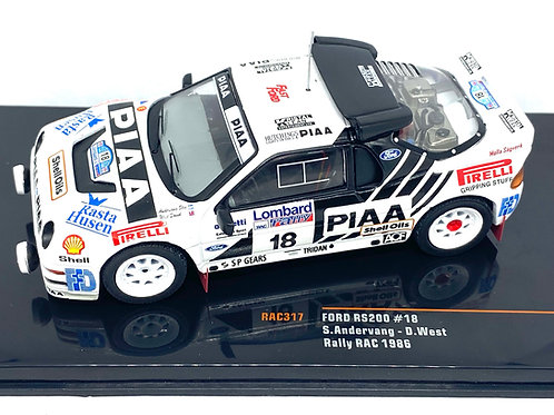 1:43 Scale IXO Models Ford RS200 Rally Car S Andervang RAC Rally 1986 Model Car