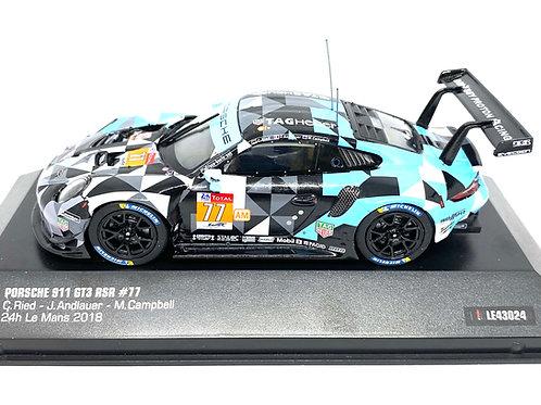 1:43 scale IXO Porsche 911 GT3 RSR - Ried Andlauer & Campbell Le Mans 2018 Model