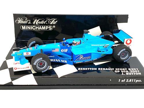 Ltd Edition 1:43 scale Minichamps Model Benetton B201 F1 Car - J Button USA GP