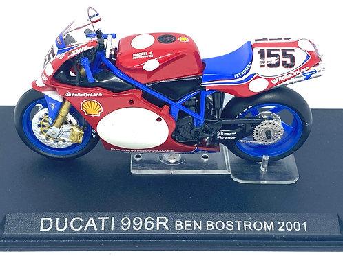 1:24 scale Altaya De Agostini Ducati 996R Superbike Model - Ben Bostrom 2001