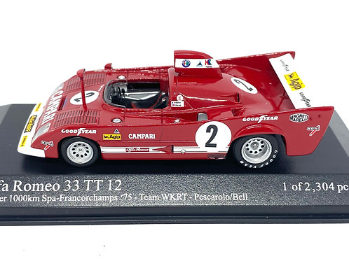 Ltd Ed 1:43 scale Minichamps Alfa Romeo 33 TT 12 Sports Car - Spa 1975 1000 KM