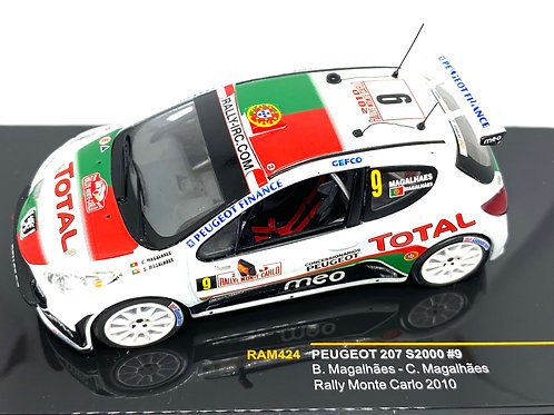 1:43 Scale IXO Peugeot 207 S2000 Rally Car - B Magalhaes Monte Carlo Rally 2010