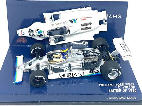 Rare 1:43 scale Minichamps Williams FW07 F1 Car - Desire Wilson 1980 British GP