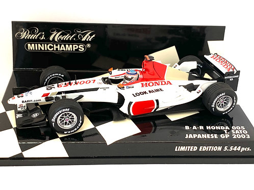 Limited Edition 1:43 scale Minichamps BAR Honda 005 - T Sato 2003 Japanese GP