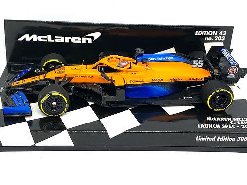 1:43 scale Minichamps Model McLaren MCL35 F1 Launch Spec Car - Carlos Sainz 2020