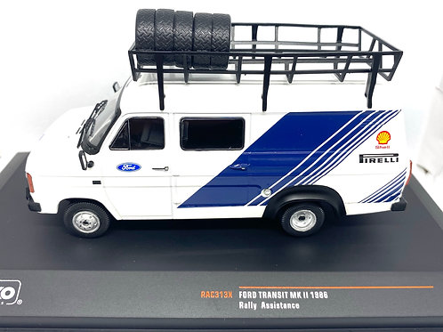1:43 Scale IXO Model Ford Transit MK II Rally Service Vehicle from 1986