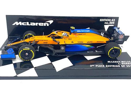 1:43 scale Minichamps McLaren MCL35 F1 Car - Lando Norris 3rd Austrian GP 2020
