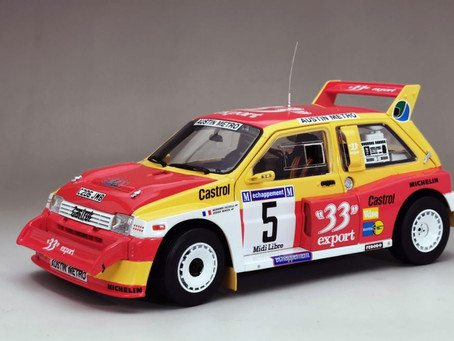 Due this week - 1/18 scale Diecast MG Metro 6R4 model by Sun Star.