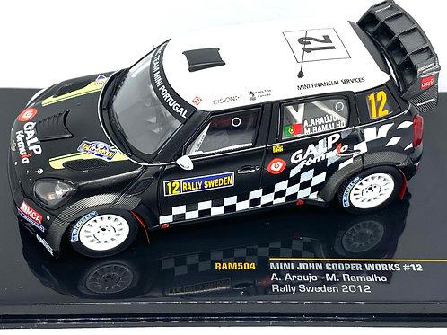 1:43 Scale IXO Mini Cooper Works Rally Car - A Araujo 2012 Rally Sweden Model