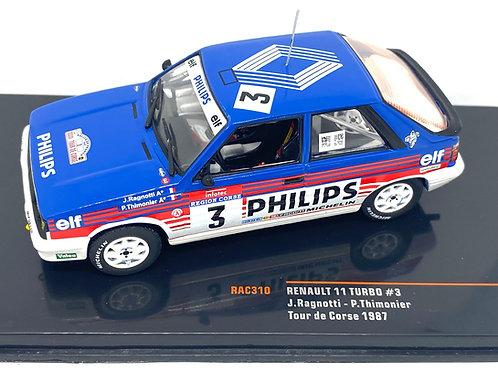 1:43 Scale IXO Models Renault 11 Turbo Rally Car - J Ragnotti 1987 Tour De Corse