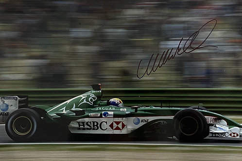 Hand Signed 12 inch x 8 inch (A4) Mark Webber Jaguar F1 Team Photo with COA