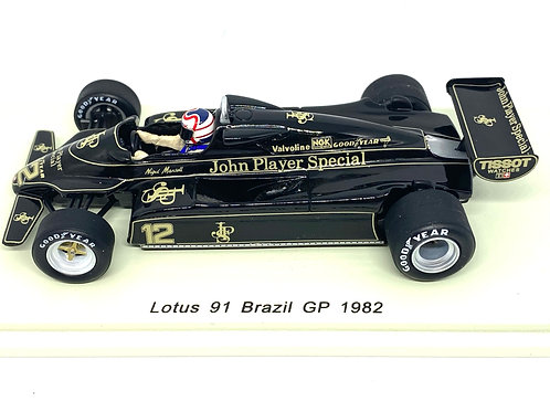 1/43 scale Spark Lotus 91 F1 Car - Nigel Mansell 1982 Diecast Model Race Car