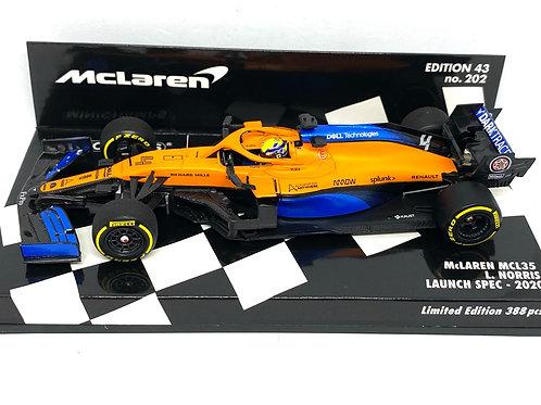 1:43 scale Minichamps Model McLaren MCL35 F1 Launch Spec Car - Lando Norris 2020