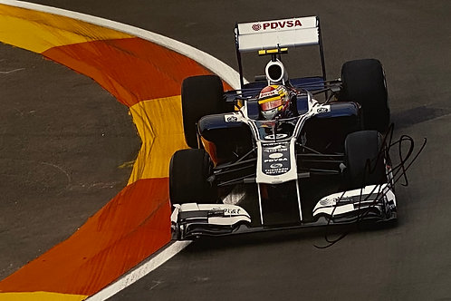 Hand Signed 12 inch x 8 inch (A4) Pastor Maldonado Williams F1 Photo with COA