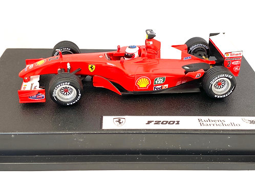 1:43 scale Hotwheels Cars Ferrari F2001 F1 Car, Rubens Barrichello 2001 Model