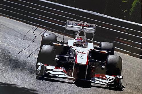 Hand Signed 12 inch x 8 inch (A4) Kamui Kobayashi Sauber F1 Team Photo with COA
