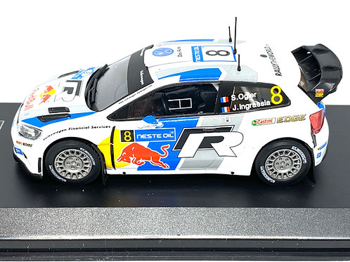 1:43 Scale Diecast Club Volkswagen Polo R WRC Rally Car - S Ogier Rally Finland