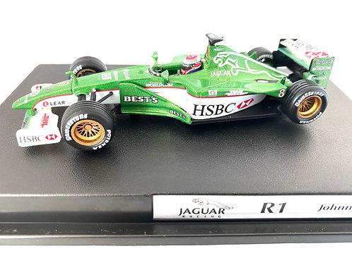 1:43 scale Hotwheels Cars Jaguar R1 F1 Model, Johnny Herbert 2000 Scale Model