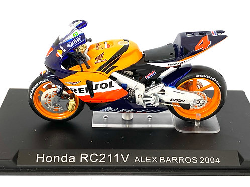 1:24 scale Altaya Honda RC211V Moto GP Bike - Alex Barros 2004 Replica Model