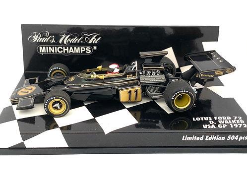 1:43 scale Minichamps Lotus 72 F1 Car Dave Walker 1972 USA GP Diecast Model Car