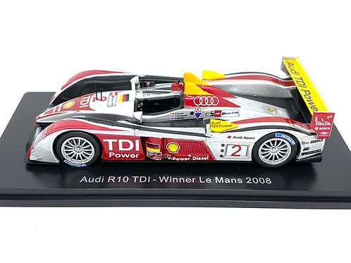 1:43 scale Spark Audi R10 TDI Le Mans Winning Sports Car - A McNish 2008 Model