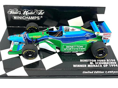 Ltd Edition 1:43 scale Minichamps Benetton B194 F1 Car - M Schumacher Monaco 94